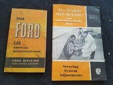 1958 Ford Car Steering System Adjust Mechanics Service Forum & Service Booklets