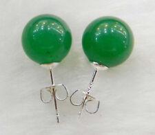 charm 10mm Jewelry Natural Green emerald jade & Silver Stud Earrings AAA+
