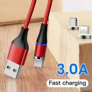 3in1 3A Fast Magnetic Charging IOS/Type-C/Micro USB Data Cable Phone Charger Lot