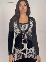 Frank Lyman Ladies Top NEW Size 10 Black Mix Long Sleeve Casual Largenlook