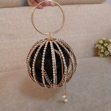 Round bauble evening diamante crystal gold wedding pearl beaded clutch bag purse