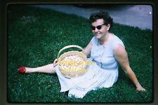 1965 Woman with Basket of Eggs, Original Kodachrome Slide b9b