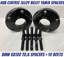 Black Alloy Wheel Spacers 15mm Bmw X3 X4 F25 F26 M14X1.25 Bolts 5x120 72-6