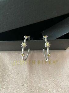 Judith Ripka Sterling Silver Hoop Earrings Canary Cz Bezels