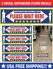 "(5) Social Distancing 12""x3"" Floor vinyl stickers Laminated Cv19 Virus Safety"