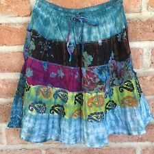 S M L Mini Skirt Boho Hippie Gypsy Cotton Sheer Patchwork Nepal Short One Size