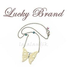Lucky Brand Semi Precious Accents XL Butterfly Pendant Statement Chain Necklace