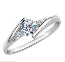 Micro-inlay 0.5 Ct CZ 925 Sterling Silver Engagement Wedding Band Ring SZ 7-9.5