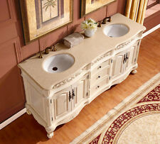 "72"" Marble Stone Countertop Dual Bathroom Vanity Double Sink Cabinet 250CM"