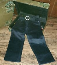 Greendog Velvety Black Pants Rhinestone Belt Size 4 4T *