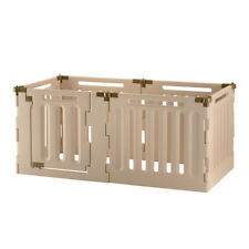 Convertible 6 Panel Indoor/Outdoor Pet Playpen for Small Size in Soft Tan, 94907