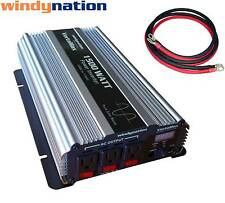 VertaMax 1500 Watt Pure Sine Wave Power Inverter DC to AC Car, RV + 2 AWG Cables