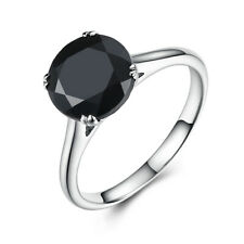10K White Gold Prong Setting 3.2ct Round 8mm Black Spinel Gemstone Beauty Ring