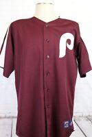 MLB Philladelphia Phillies Maroon Baseball Jersey, Men's XL Majestic Cooperstown
