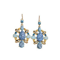 Women's Gift New 14K Gold Plated Blue Line Nature Stone Teardrop Dangle Earrings