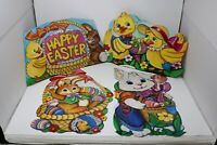 Vintage Happy Easter Spring Bunny Decorations Die-Cut Wall Covering Lot of 4 HTF