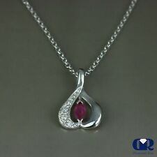 """Natural 0.38 Ct Ruby & Diamond Heart Shape Pendant Necklace 14KWG 16"""" Chain"""