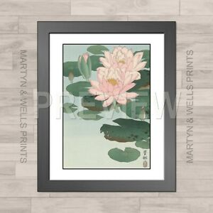Ohara Koson framed print: Water Lilies. 400mm x 325mm. Textured canvas paper
