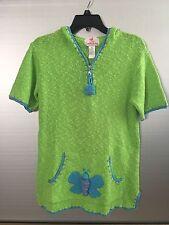 Quacker Factory Women's Lime Green Hooded 1/4 Zip Short Sleeve Sweater X-Small