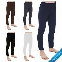 Children Kids Girls Plain Soft Full Length Leggings Age 2 3 4 5 6 7 8 9 10 11 12