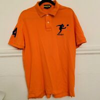 POLO SHIRT Rugby RALPH LAUREN Men's X-Large XL Orange Player 4 Short Sleeve