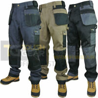 Mens Work Trouser Tuff Multi & Knee Pad Pockets Trade Pro Pants Triple Stitched