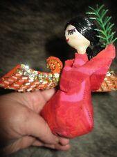 """Vintage Handmade Christmas Angel Beautiful Stuffed Cloth w/ Shiny Wings 5"""" A+"""