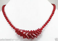 """Exquisite Natural Red Jade Gemstone Round&Square Beads Necklace 17"""" AAA"""