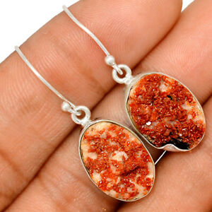 Vanadinite Morocco Specimen 925 Sterling Silver Earring Jewelry BE44258