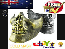 HALF SKULL MASK TACTICAL ELITE MILITARY ARMY SNIPER SILVER PREPPER HUNTING GOLD