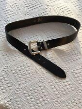 Real Negro Cinturón De Cuero Hebilla De Plata Longitud 95cm