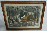 Currier and Ives Maple Sugaring Early Spring in the Northern Woods Reproduction