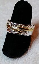 Silver and Gold Feather Ring sz. 9