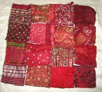 LOT PURE SILK Antique Vintage Sari Fabrics REMNANT 20 pcs 5 inch SQUARES #ABDBF