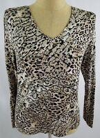 Chicos Top Size 1 Medium Tan Black Gold V-Neck Animal Print Shirt Long Sleeve