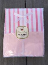 vintage Springmaid Double Bed Flat Sheet Pink And White Stripe