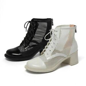 Women's Punk Low Heel Round Toe Lace Up Back Zipper Ankle Boots Biker 34-42 L