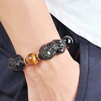 Feng Shui Natural Gold Obsidian Pi Xiu Attract Wealth Bracelet Women Men Lu U6V0
