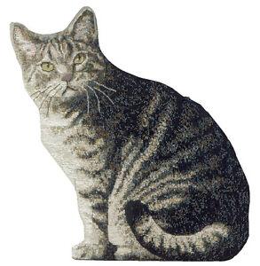 Kitty Corner Tabby Cat Shaped Tapestry Pillow
