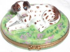 Pierre Arquie Hand Painted Limoges Spotted Pointer on Flowered Oval Trinket Box