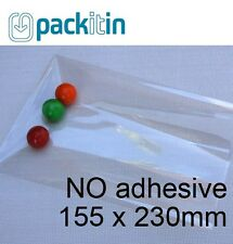 155 x 230mm (100 qty) NON seal NO adhesive Clear Cellophane Cello Plastic Bags
