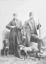 ANTIQUE HUNTING REPRINTED 8 X 10 PHOTOGRAPH 2 HUNTERS WITH HOUNDS AND RIFLES