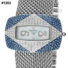 Yves Bertelin Damenuhr sehr viel Strass: silbern-blau #1203 Perlmutt BING BLING