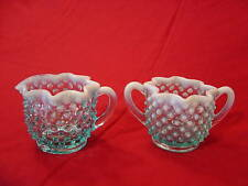 VINTAGE FENTON ART GLASS SUGAR CREAMER BLUE OPALESCENT HOBNAIL 2 PIECE SET