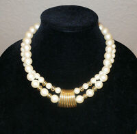 "Costume Necklace Faux Pearls & Gold Tone Beads Double Strand 18"" Wonderful Shape"