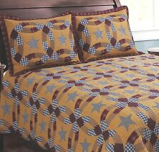 PRAIRIE WEDDING RING 3pc * King * QUILT SET : PRIMITIVE RUSTIC BROWN PLAID STAR
