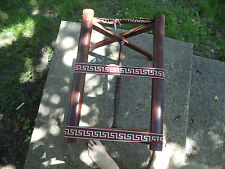 Vintage Wood Folding Luggage Stand Rack with Tapestry Straps