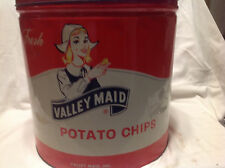 COLLECTIBLES VINTAGE TIN CAN VALLEY MAID POTATO CHIPS LARGE VINTAGE TIN CAN