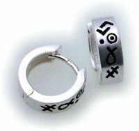 Damen Ohrringe Klapp Creolen echt Silber 925 Sterlingsilber 12 mm Klappcreolen