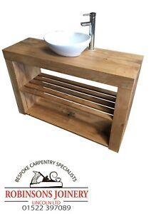 Vanity Unit Wash Stand Sink Basin Solid Oak Bespoke Rustic Oiled Finish Slatted